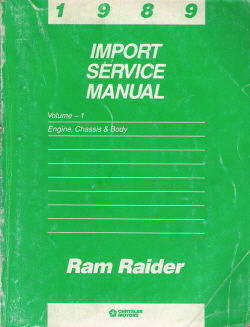 1989 Dodge Ram Raider Import Service Manual 2 Volume Set