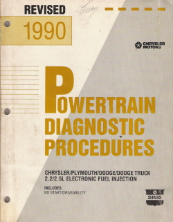 1990 Chrysler / Plymouth / Dodge / Dodge Truck 2.2/2.5L Electronic Fuel Injection Powertrain Diagnostic Procedures Manual