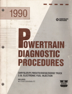 1990 Chrysler, Plymouth, Dodge, Dodge Truck 3.0L Electronic Fuel Injection Powertrain Diagnostic Procedures Manual - Softcover