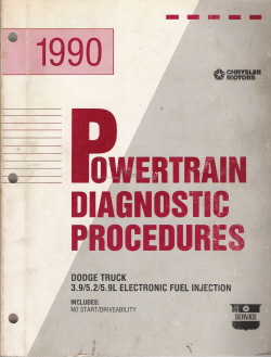 1990 Chrysler Dodge 3.9/5.2/5.9L Electronic Fuel Injection Powertrain Diagnostic Procedures Manual
