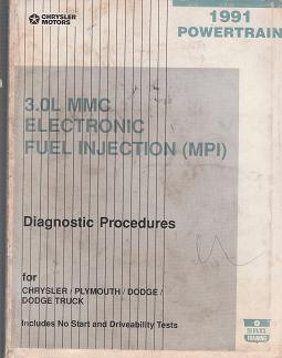 1991 Chrysler / Dodge / Plymouth / Dodge Truck Vehicles with 3.0L MMC Electronic Fuel Injection (MPI) Powertrain Diagnostic Procedures