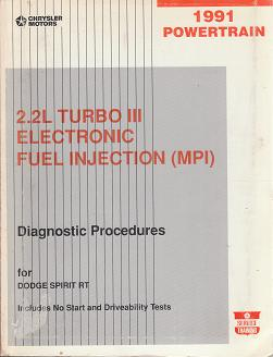 1991 Dodge Spirit RT 2.2L Turbo III Electronic Fuel Injection (MPI) Powertrain Diagnostic Procedures