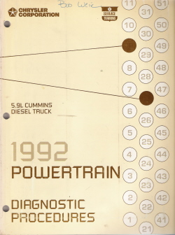1992 Chrysler 5.9L Cummins Diesel Truck Powertrain Diagnostic Procedures Manual