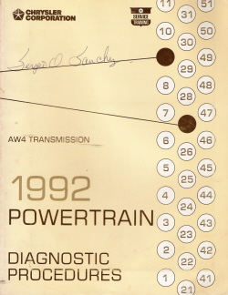1992 Chrysler AW4 Transmission Powertrain Diagnostic Procedures Manual