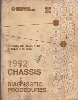 1992 Chrysler Chassis Bendix Antilock - 10 Brake System Diagnostic Procedures Manual