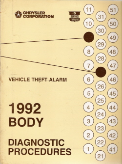 1992 Chrysler Vehicle Theft Alarm Body Diagnostic Procedures Manual