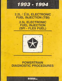 1993 - 1994 Chrysler 2.2L / 2.5L Electronic Fuel Injection (TBI) 2.5 Electronic Fuel Injection (SFI - Flex Fuel) Powertrain Diagnostic Manual