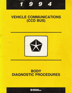 1994 Chrysler CCD Bus Vehicle Communications Body Diagnostic Procedures Manual