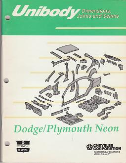 1993 Dodge Neon / Plymouth Neon Unibody Dimensions, Joints, and Seams Manual