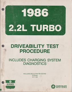 1986 Chrysler / Dodge / Plymouth 2.2L Turbo Driveability Test Procedure Includes Charging System Diagnostics