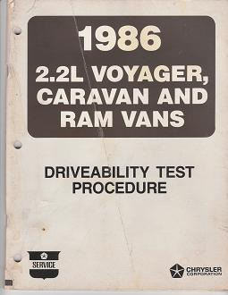1986 2.2L Plymouth Voyager / Dodge Caravan / Ram Vans Driveability Test Procedure