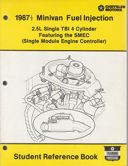 1987 1/2 Chrysler / Dodge / Plymouth Minivan Fuel Injection 2.5L Single TBI 4 Cylinder Featuring the SMEC Student Reference Book