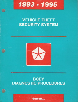 1993 -1995 Chrysler Vehicle Theft Security System Body Diagnostic Procedures Manual