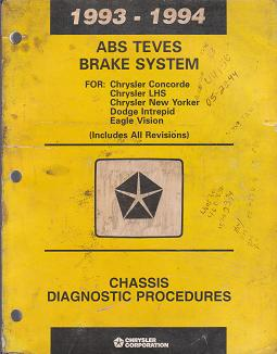 1993 - 1994 Chrysler / Dodge / Plymouth ABS Teves Brake System Chassis Diagnostic Procedures
