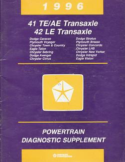 1996 Chrysler / Dodge / Plymouth 41 TE/AE Transaxle 42 LE Transaxle Powertrain Diagnostic Supplement