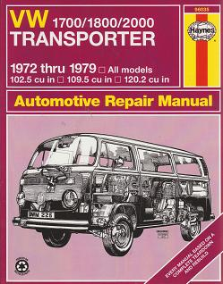1972 - 1979 Volkswagen Transporter 1700 / 1800 / 2000 Haynes Automotive Repair Manual