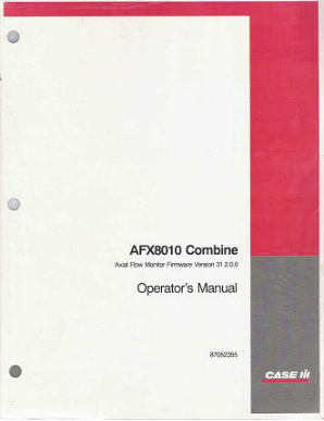 Case AFX8010 Combine Factory Operator's Manual