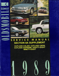 1989 Oldsmobile Service Manual Supplement for All Carlines