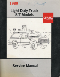 1989 Chevrolet GMC Light Duty Truck Service Manual - S/T Models