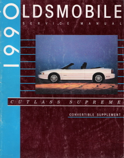 1990 Oldsmobile Cutlass Supreme Convertible Service Manual Supplement