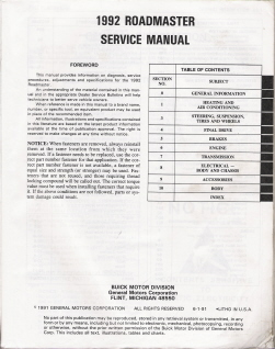 1992 Buick Roadmaster Factory Service Manual - No Cover