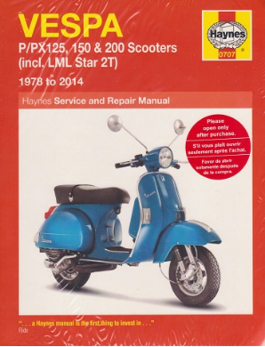 1978 - 2014 Vespa P125 P150 P200 PX125 PX150 PX200 Scooters Haynes Repair Manual