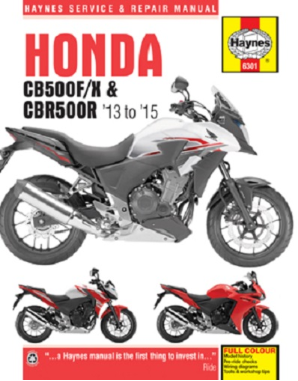 2013 - 2015 Honda CB500F CB500X CBR500R Haynes Repair Manual