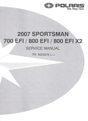 2007 Polaris Sportsman 700 EFI / 800 EFI / 800 EFI X2 Factory Service Manual