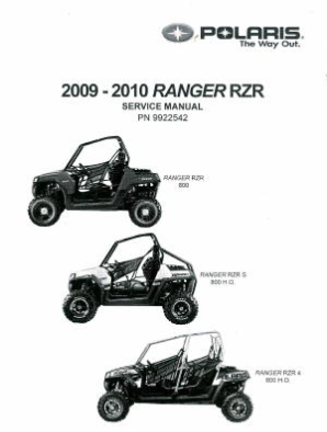 2009 - 2010 Polaris Ranger RZR 800 ATV Factory Service Manual