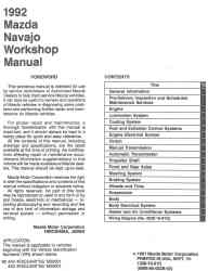 1992 Mazda Navajo Factory Workshop Manual
