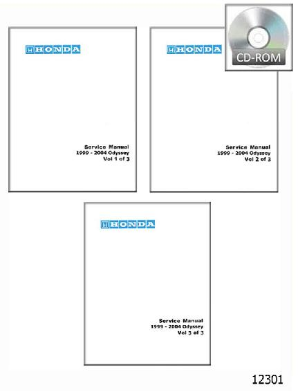 1999 - 2004 Honda Odyssey Factory Service Manual- 3 Volume Set on CD-ROM