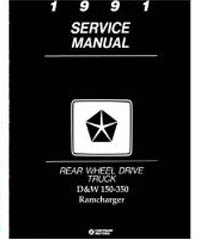 1991 Dodge Ram & RamCharger D&W 150 - 350 Rear Wheel Drive Truck Factory Shop Manual on CD-ROM