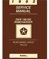 1992 Dodge Ram & RamCharger D&W 150 - 350 Rear Wheel Drive Truck Factory Shop Manual on CD-ROM