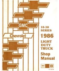 1986 Chevrolet Truck Light Duty Factory Service Manual on CD-ROM