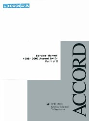 1998 - 2002 Honda Accord Factory Service Manual on CD-ROM