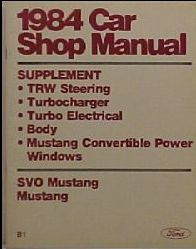 1984 Ford Mustang SVO Shop Manual Supplement