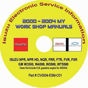 2000 - 2004 Isuzu N & F Series, GMC & Chevrolet W Series (Diesel Engines) Factory Workshop Manual on CD-ROM