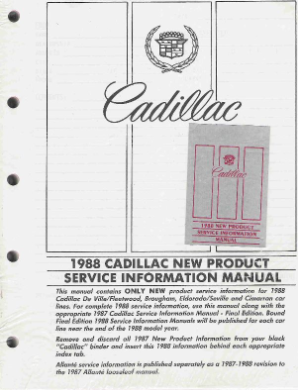 1988 Cadillac New Product Factory Service Information Manual