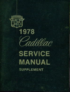 1978 - Cadillac Service Manual Supplement
