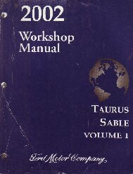 2002 Ford Taurus & Mercury Sable Workshop Manual - 2 Volume Set