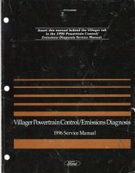 1996 Mercury Villager Powertrain Control and Emissions Diagnosis Service Manual