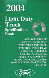 2004 Ford Light Duty Trucks  Specificaiton Book