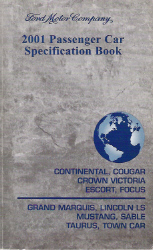 2001 Ford, Lincoln & Mercury All Model Passenger Car Specification Manual