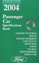 2004 Ford Passenger Car Specifications Book