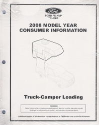2008 Ford Truck-Camper F150 - F450 Factory Loading Manual