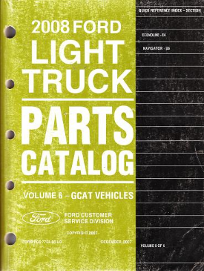 2008 Ford Econoline Van, Navigator Parts Catalog Vol. 6