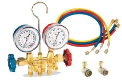 "FJC R134a Brass Manifold Gauge Set with 72"" Hoses"