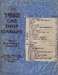 1988 Ford Car (Town Car, Ford Crown Victoria and Mercury Grand Marquis) Factory Shop Manual - Body, Chassis, Electrical