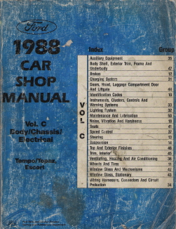 1988 Ford Factory Car Shop Manual - Body, Chassis, Electrical - Tempo, Topaz & Escort