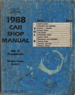 1988 Ford Escort & Tempo, Mercury Topaz Factory Car Shop Manual - Powertrain